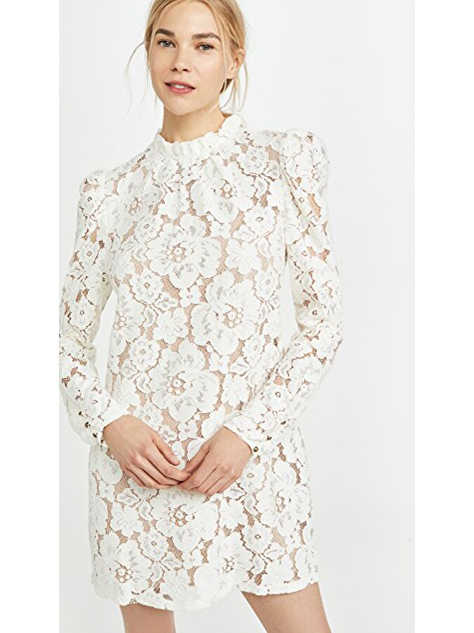 Long sleeve lace dress with mock high neck and puff sleeves