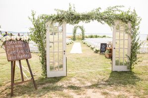 Vintage French Door Archway with Leafy Garland