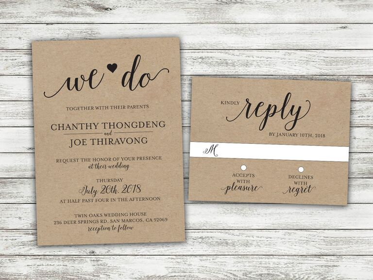 Kraft paper country wedding invitation