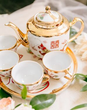 Gold Teapot and Teacups for Traditional Chinese Tea Ceremony