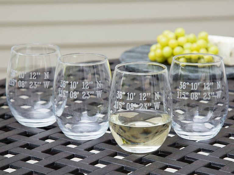 Coordinate wine glasses wedding gift for wife