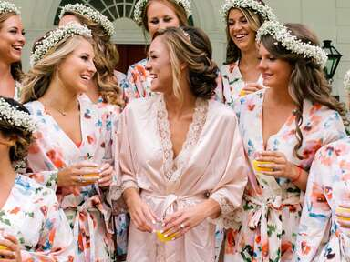 Bride with bridesmaids in robes