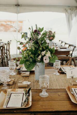 Bohemian Wildflower Centerpieces on Wood Farm Table