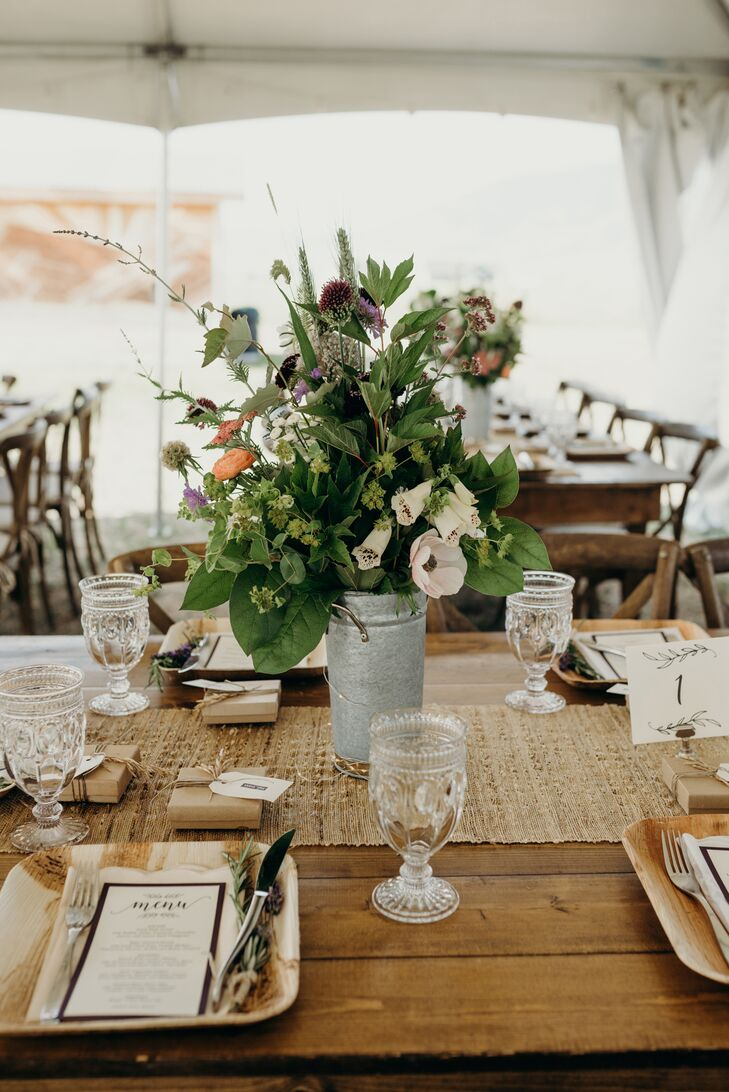 Bohemian Wildflower Centerpieces on Wood Farm Table