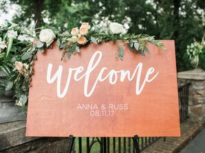 Wood Welcome Sign with Eucalyptus and Rose Swag