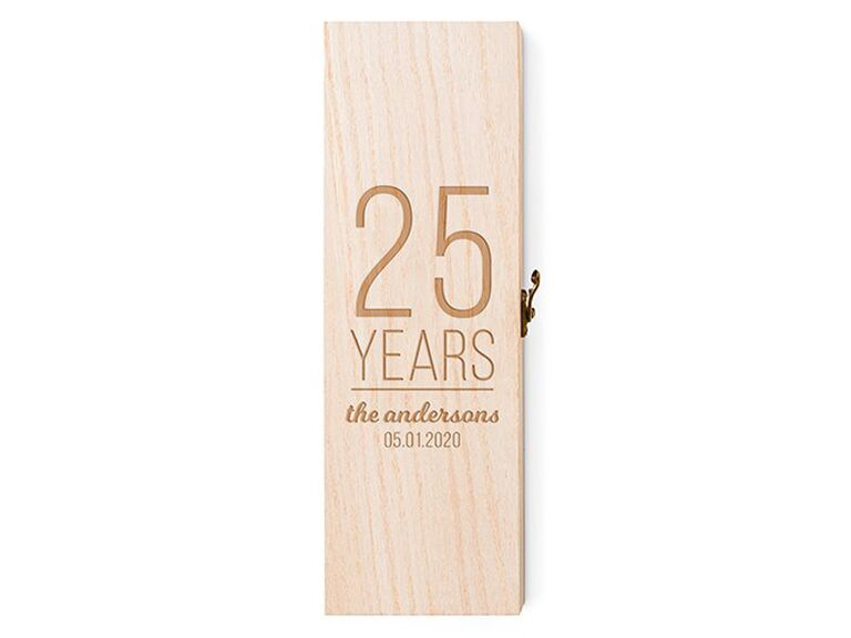 Personalized wine crate fruit fourth anniversary gift