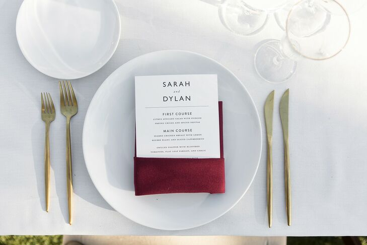 Classic Place Setting with White Dinnerware, Gold Flatware and Paper Menu