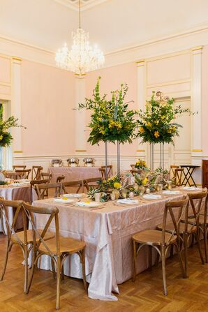 Elegant Reception with Tall Greenery Centerpieces, Pink Linens and Cross-back Chairs