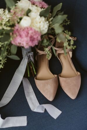 Simple, Modern Blush Flats with Bouquet Ribbon