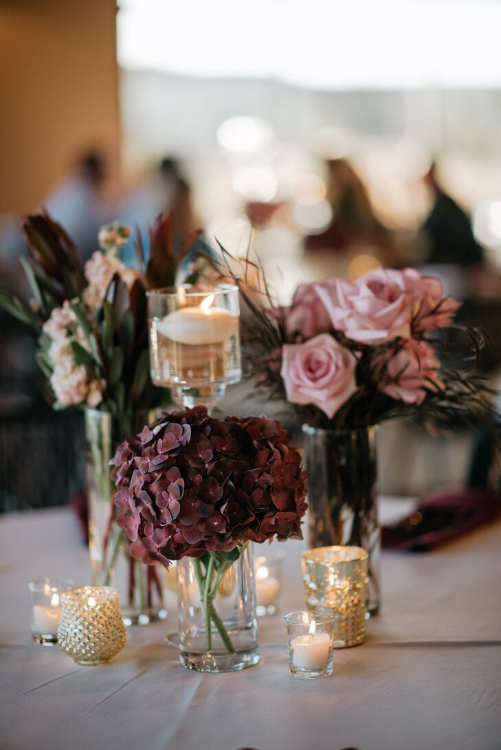 Moody Floral Centerpieces with Gold Candles