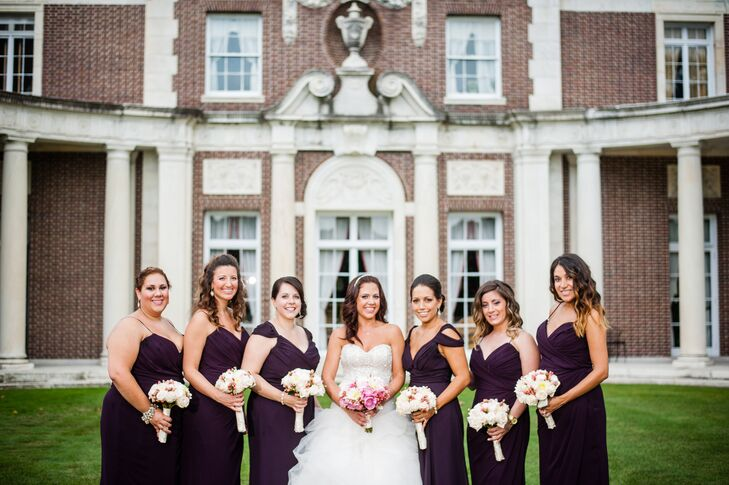 Plum Colored Bridesmaid Dresses With Bouquets