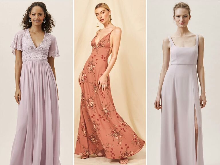 Pink and purple spring bridesmaid dresses