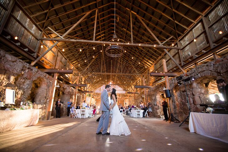 Keviann and Ben shared their first dance inside the barn at Santa Margarita Ranch in Santa Margarita, California. They danced under the twinkling string lights that were wrapped around the wooden beams.