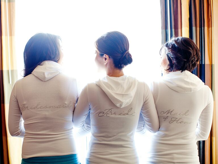 Bride and bridesmaids getting ready sweatshirts