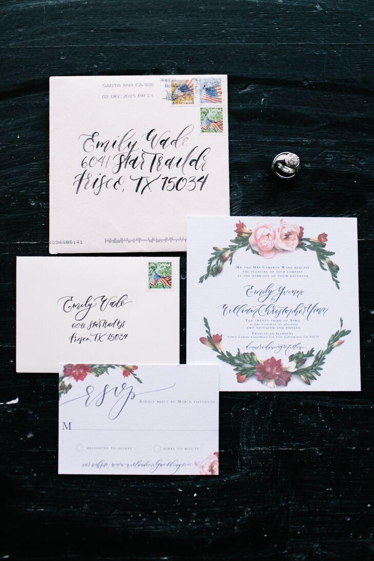 A floral-themed invitation suite set the stage for the couple's outdoor garden nuptials.