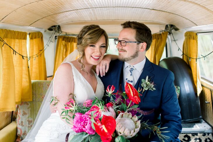 Classic Bride and Groom in Retro Volkswagen Bus