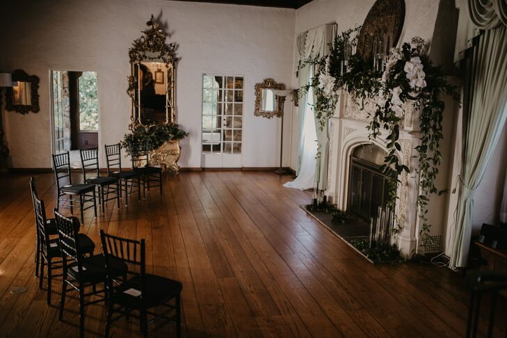 Intimate Ceremony Site with Fireplace