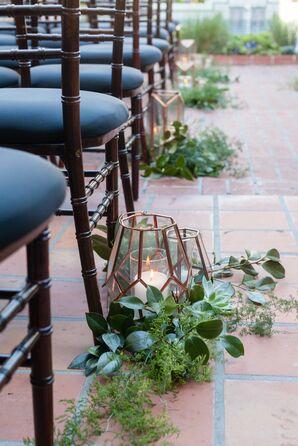 Copper Geometric Lanterns Wrapped in Greenery