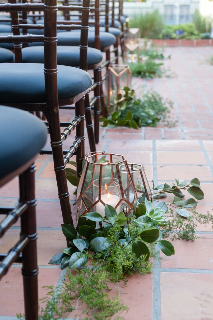 Copper Geometric Lanterns Wrapped in Greenery