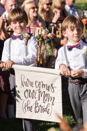 Custom Calligraphed 'Here Comes the Bride' Sign