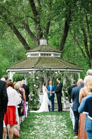 Classic Garden Ceremony with Greenery Arch and Gazebo Backdrop