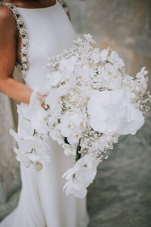 Glamorous White Bouquet with Peonies, Orchids and Baby's Breath