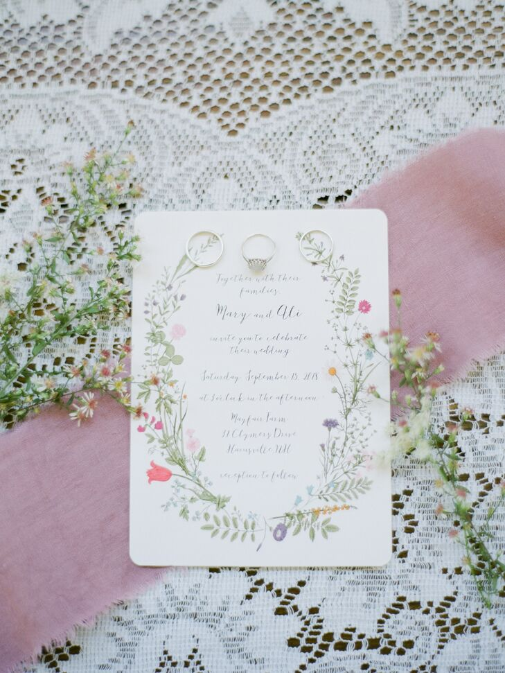 Vintage, Bohemian Wedding Invitations with Calligraphy