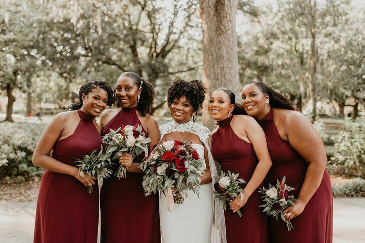 Bridal Party at at Forsyth Park in Savannah, Georgia