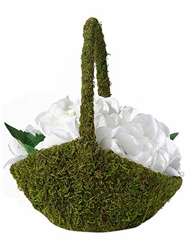 31 adorable flower girl baskets faux moss covered flower girl basket izmirmasajfo