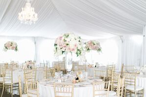 Elegant White-Tented Reception With Chandeliers