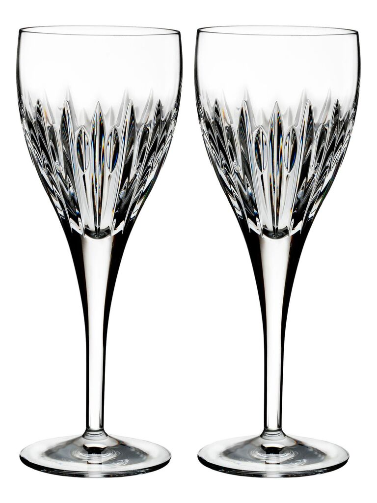 Pair of elegant Waterford crystal wine glasses 15th anniversary gift for a couple