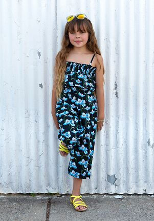 Appaman Ellie Jumpsuit | Black Floral Flower Girl Dress