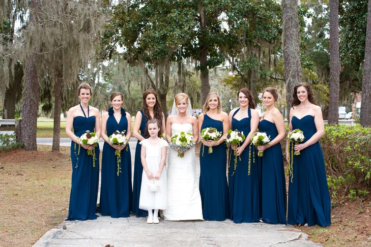 """I wanted my bridesmaids to feel comfortable in and like what they wore, so I let them choose their dresses,"" says Lindsey. ""I picked the designer, color, length and fabric but let them decide on which style."""