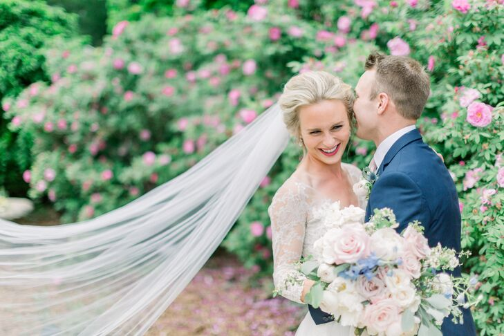 Classic Bride and Groom in Garden Setting