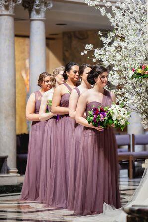 Floor-Length Soft Purple Bridesmaid Dresses