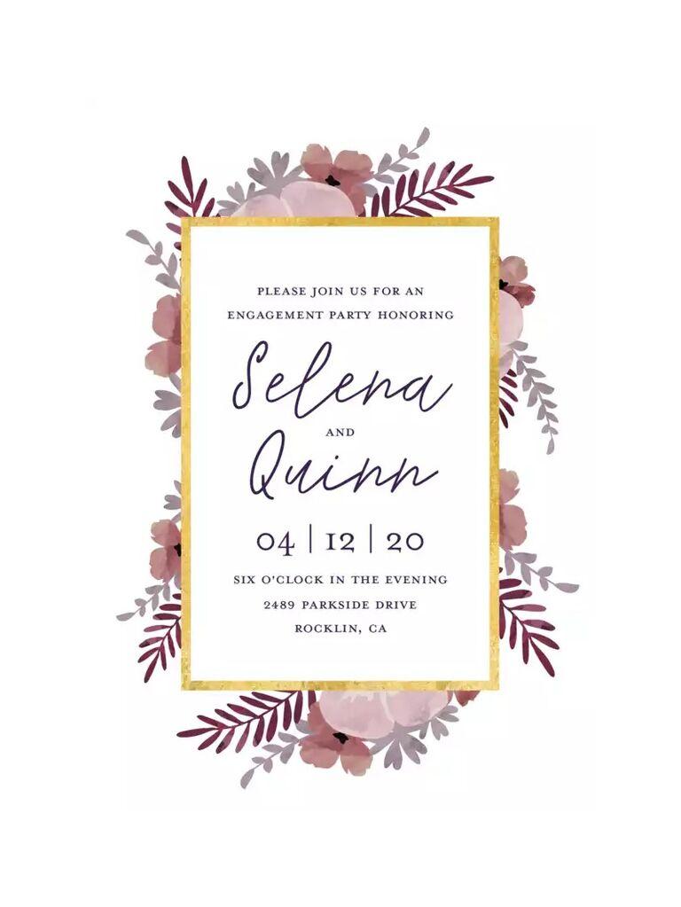 Floral boho engagement party invitation