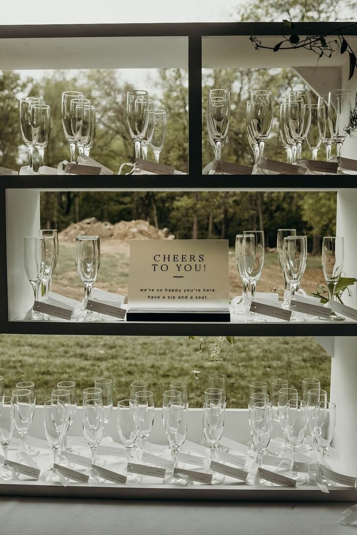 Champagne Flute Display with Sign
