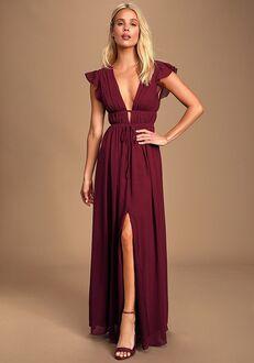Lulus I'm All Yours Burgundy Ruffled Maxi Dress V-Neck Bridesmaid Dress