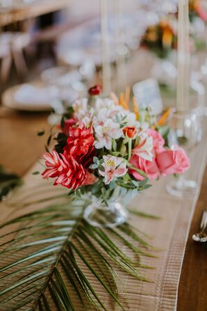 Pink Centerpieces with Bromeliads and Orchids
