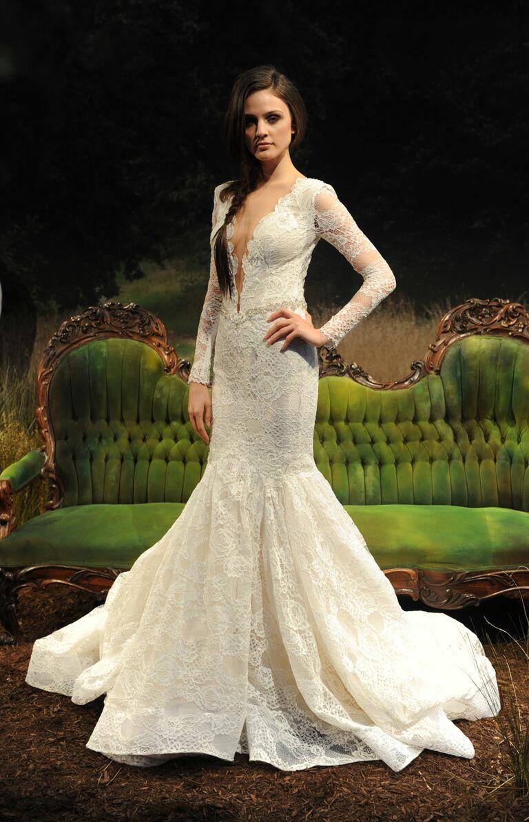 8d06678cbc Gala by Galia Lahav spring summer 2017 French lace mermaid wedding dress  with long sleeves