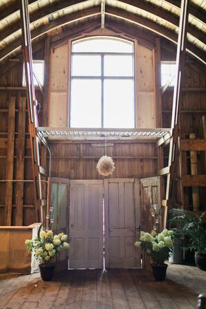 Rustic Wedding Arch at Rubies and Rust Barn in Belle Plaine, Minnesota