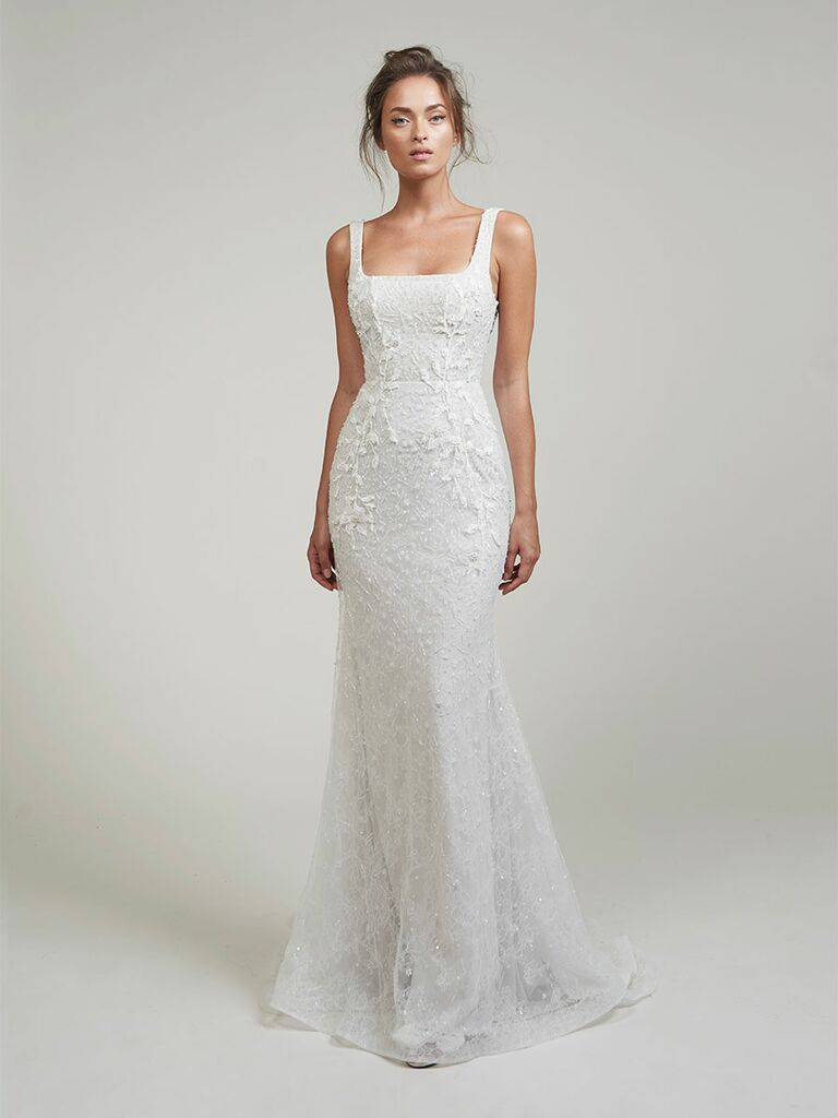 Lihi Hod wedding dress trumpet lace gown with square neckline