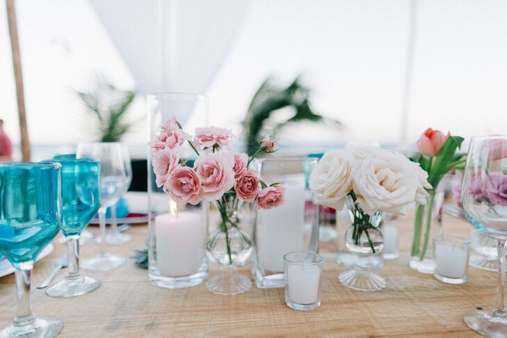 Simple Rose and Candle Beach Centerpieces