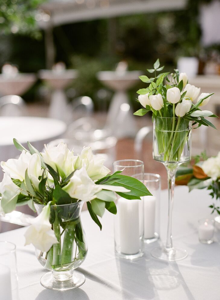 Modern, White Tulip and Amaryllis Centerpieces