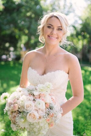 Pink and White Rose and Baby's Breath Bridal Bouquet