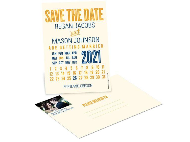 Pear Tree creative calendar wedding save-the-date postcards