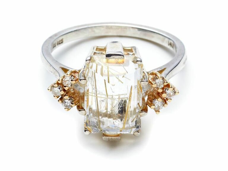 golden rutilated quartz  ring with champagne diamonds