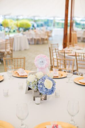 Blue Hydrangea and Ivory Rose Centerpieces