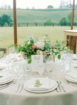 Elegant All-White Place Settings at Wedding in Charlottesville, Virginia