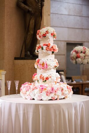 Tiered Cake Covered with Roses and Peonies